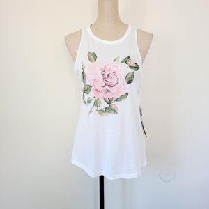 Carbon Copy white rose tank L